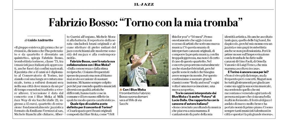 La repubblica - Il jazz / Guido Andruetto - Fabrizio Bosso, torno con la mia tromba - Blue Moka.